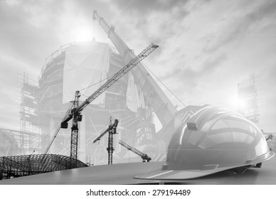 construction work safety blurred and soft focus background  black and white collection.
