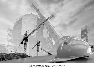 construction work safety helmet black and white tone.