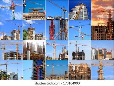 Construction work site collage photos