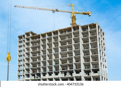 Construction work site and high rise crane building