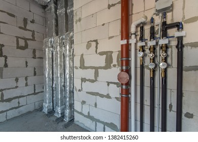 Construction work. Water pipe system.  Installation of ventilation system in the building.