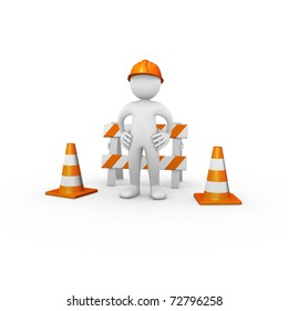 Construction worker with barrier and traffic cones