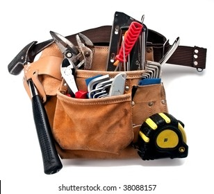 construction worker belt with tools isolated on white