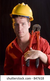 Construction worker with bolt cutters