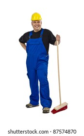 Construction worker with a broom