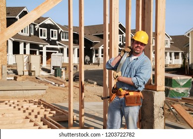 construction worker building a new house