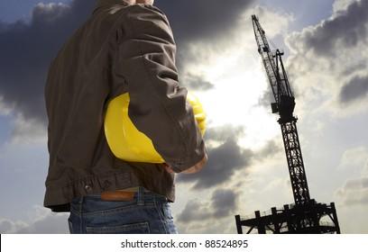 Bauarbeiter mit Silhouette
