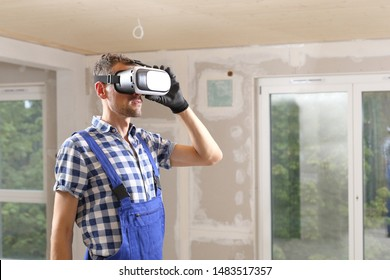 A Construction worker or client with VR glasses