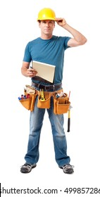 Construction Worker Contractor Carpenter with Clipboard on White