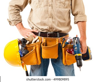 Construction worker contractor carpenter clos up on tool belt with hard hat and cordless drill isolated on white background