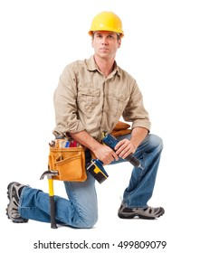 Construction Worker Contractor Carpenter on White