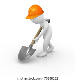 Construction worker digging the ground