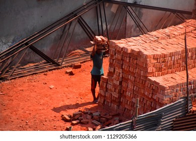 construction worker are doing their job in the brick field,8july2018,dhaka,Bangladesh