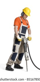 Construction worker drilling on white background.