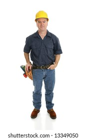 Construction worker facing forward.  Full body isolated on white.
