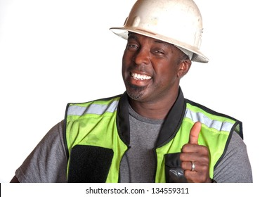 Construction worker giving thumb up