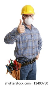 Construction worker giving thumbsup sign, with his tools and safety equipment. All content  is accurate and depicted according to industry saftely regulations.