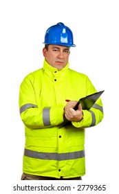 Construction worker with green safety jacket writing, over a white background