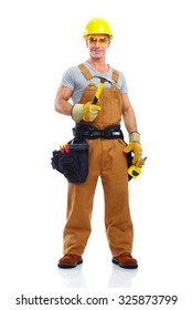 Construction worker with hammer. House renovation background.