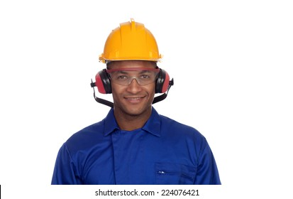 Construction worker with helmet and glasses isolated on a white background