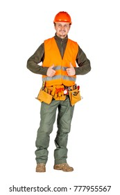 construction worker in a helmet with toolbelt smiling and show thumbs up and looking at camera over white wall background. repair, construction, building, people and maintenance concept.
