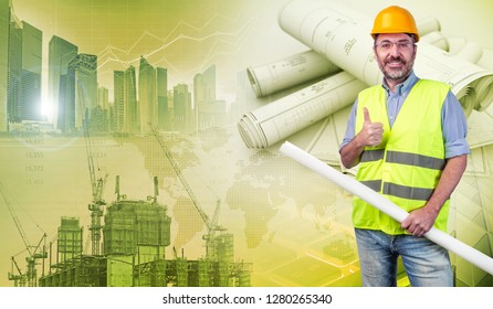 construction worker holding blueprints and gesturing ok