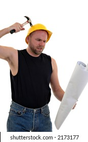 construction worker holding blueprints and hitting self on head with hammer