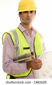Construction worker holding blueprints and wearing reflective vest and hardhat.
