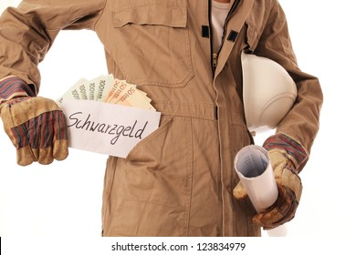 Construction worker with illegal money in his pocket