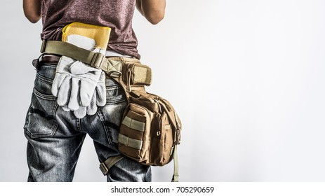construction worker  isolated white background