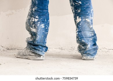 Construction worker with jeans and street shoes