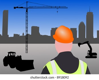 Construction worker with machinery and crane at Boston building site JPG