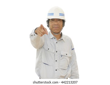 Construction Worker ; Man pointing a finger
