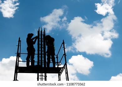 Construction worker on scaffoding