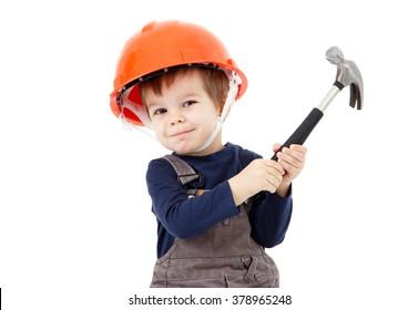 Construction worker in orange helmet with hammer on white