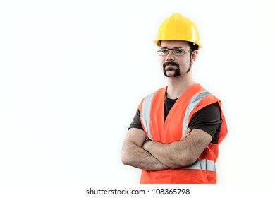 construction worker over white background