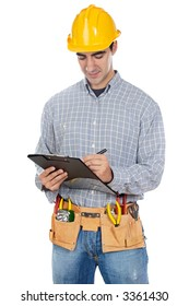 a Construction worker a over white background