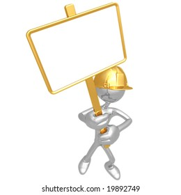Construction Worker With Picket Sign