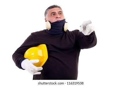 construction worker pointing ahead looking at something