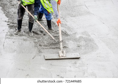 Construction worker prepares site for concreting
