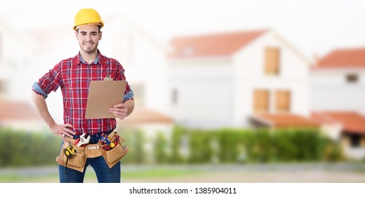 construction worker or professional with tools