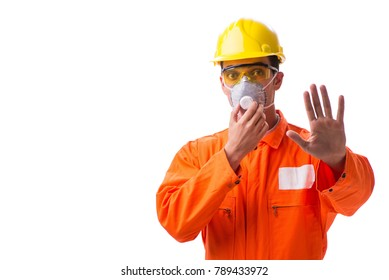 Construction worker with protective mask isolated on white