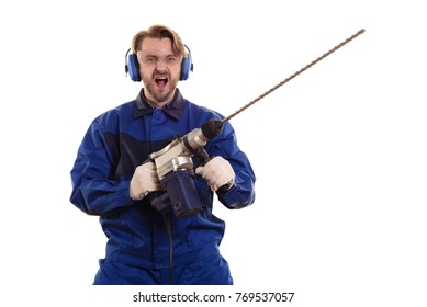 Construction worker with a puncher scream on a white background.