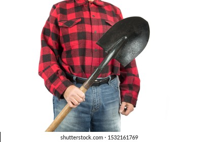 a construction worker in a red and black lumberjack shirt holds a round nose shovel isolated on white