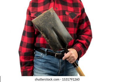 a construction worker in a red and black plaid shirt holds a shovel isolated on white
