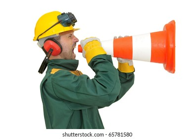 Construction worker shouting  isolated in white
