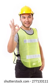construction worker showing ok hand sign gesture on white background