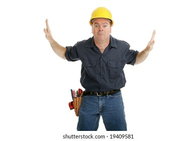 Construction worker stuck in the middle of two people or objects, illustrating a dilemma.  Design element isolated on white.