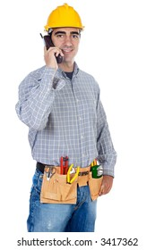 Construction worker talking on the phone a over white background