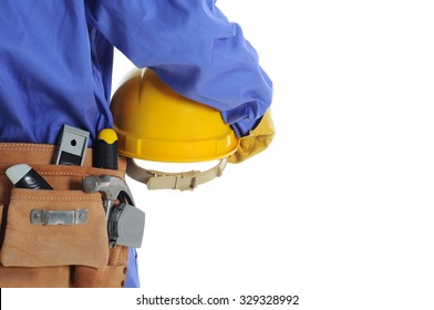 Construction worker with tool bag & helmet